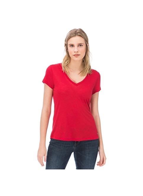 Nautica V Yaka Tişört Kırmızı